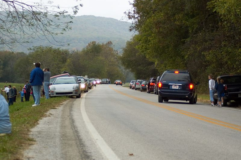 This is the crowd that gathered to watch the elk.  Apparently, the elk graze in this valley quite often.