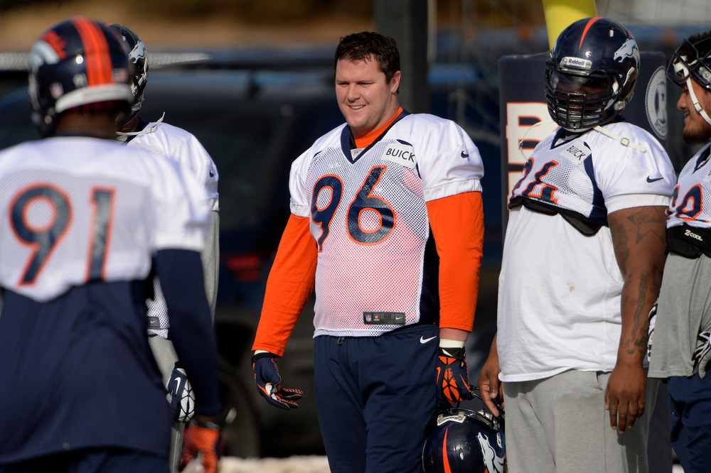 . Defensive tackle Mitch Unrein #96 of the Denver Broncos during practice at Dove Valley in Centennial January 10, 2014 Centennial, Colorado. (Photo by Joe Amon/The Denver Post)