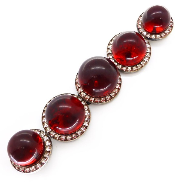 VINTAGE ART DECO FRENCH CHERRY BAKELITE CHANNEL SET RHINESTONE BUCKLE