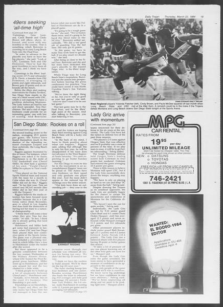 Daily Trojan, Vol. 95, No. 51, March 22, 1984