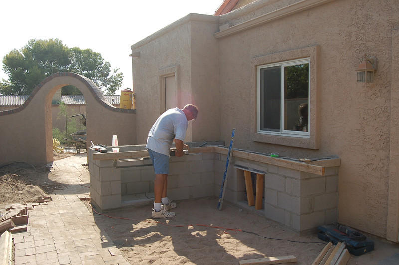 Chris Pullen, framing for the countertop.