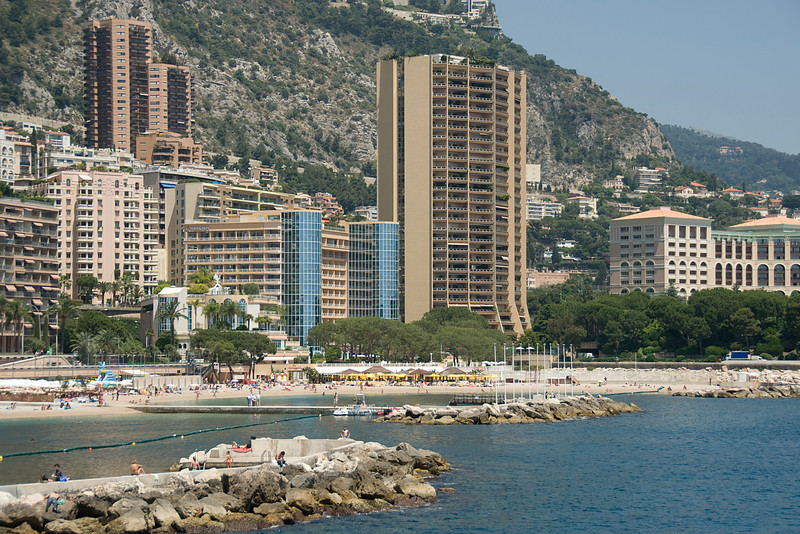Tall hotel buildings near the sea in Monte Carlo, Monaco