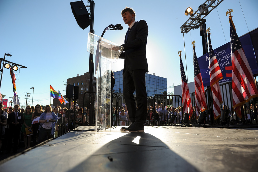 . Dustin Lance Black emcees the rally in West Hollywood to celebrate the U.S. Supreme Court\'s ruling that killed Prop 8, Wednesday, June 26, 2013. (Michael Owen Baker/L.A. Daily News)