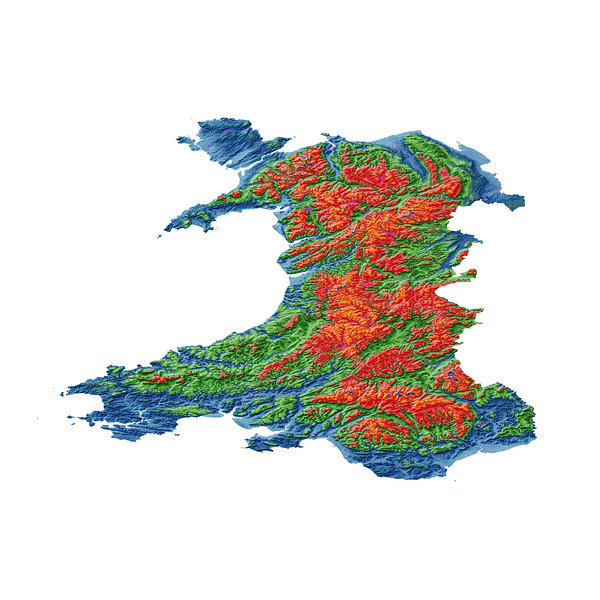 Elevation map of Wales