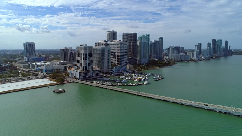 Aerial video Downtown Edgewater Miami marina harbor