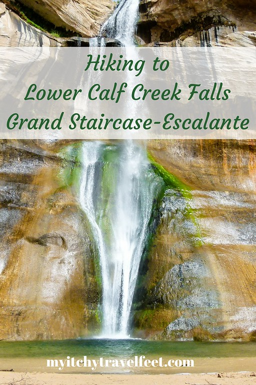 Hiking to Lower Calf Creek Falls in Grand Staircase-Escalante, Utah.