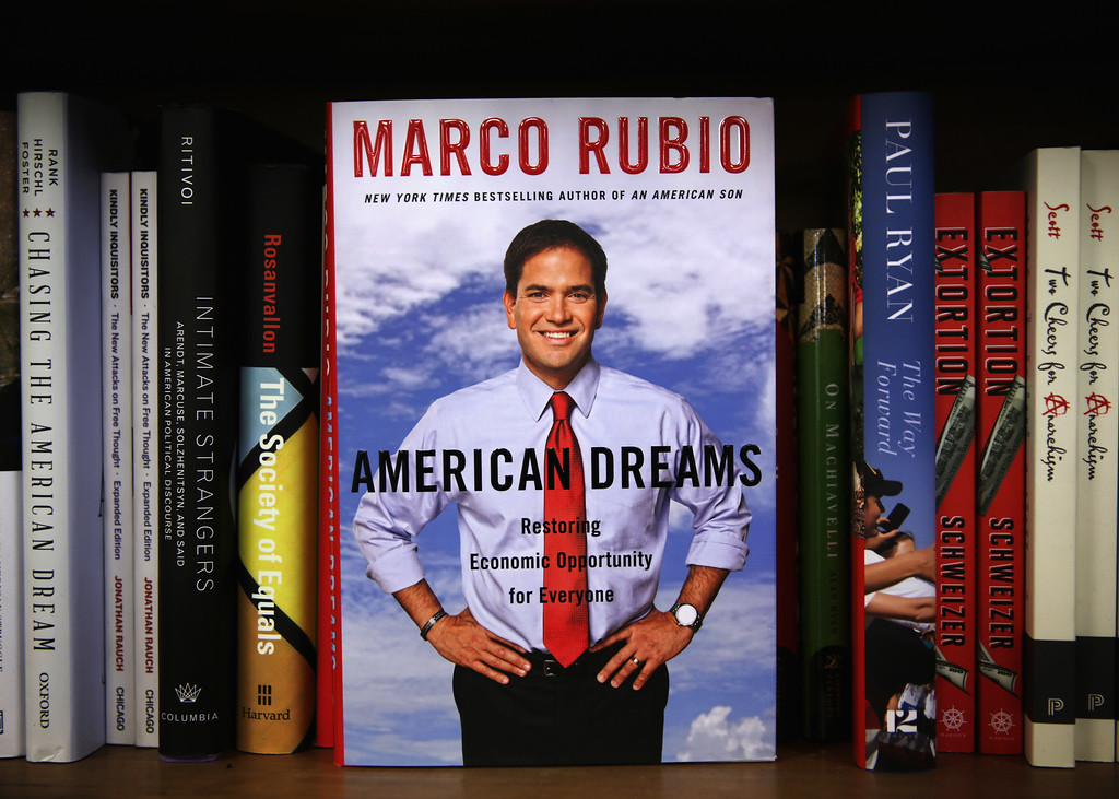 ". A copy of U.S. Sen. Marco Rubio\'s (R-FL) new book ""American Dreams: Restoring Economic Opportunity for Everyone\"" is seen at Politics and Prose bookstore January 14, 2015 in Washington, DC.   (Photo by Alex Wong/Getty Images)"
