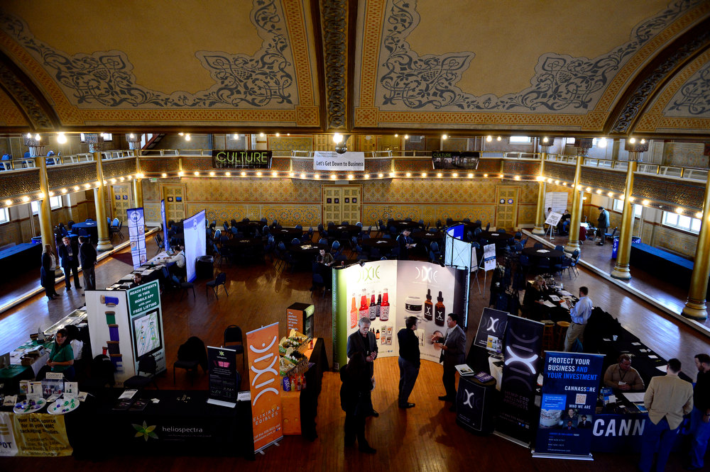 . Vendors work their booths during the National Marijuana Business Conference 2012 at the Sherman Street Event Center on Thursday, Nov. 8, 2012, in Denver. Colorado voters on Tuesday approved marijuana for recreational use. The Denver Post, AAron Ontiveroz