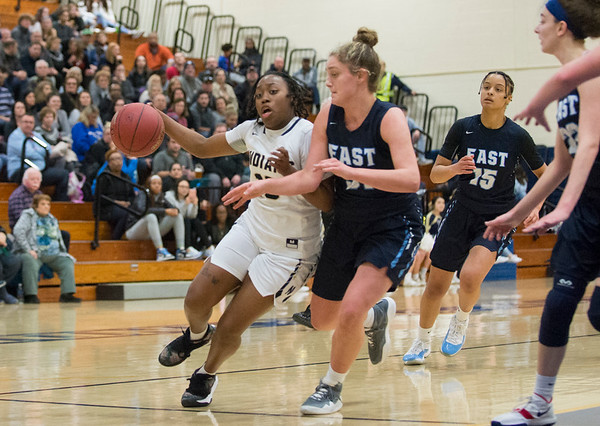 01/16/20 Wesley Bunnell | StaffrrNewington girls basketball vs East Catholic in a game on Thursday Jan 16, 2019. Newington's Ashanti Frazier would break the 1,000 points scored milestone during the first half. Ashanti Frazier (10).