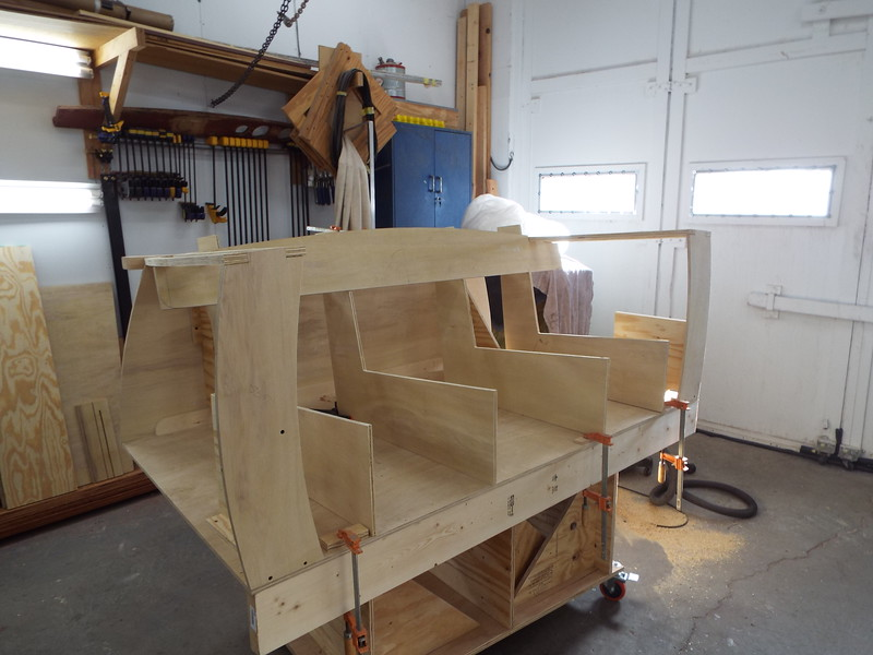 Another view of the love seat with the seat frames built.