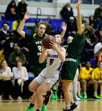 3/8/2019 Mike Orazzi | Staff St. Paul Catholic High School's Emma Cretella (5) during the Class S Semifinal girls basketball game with Trinity Catholic at Newtown High School Friday night in Newtown.