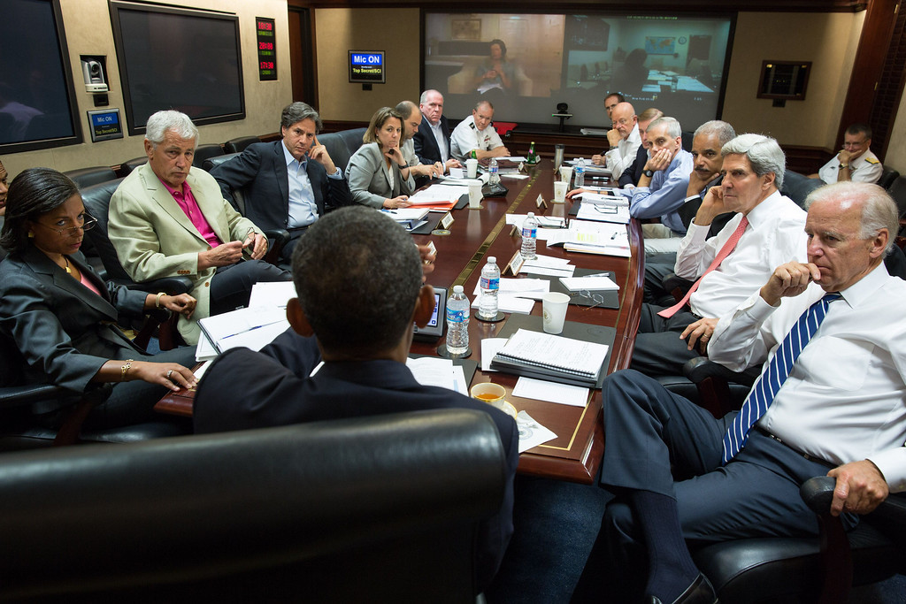 . In this image released by The White House, US President Barack Obama (C) meets in the Situation Room with his national security advisors to discuss strategy in Syria on August 31, 2013. Obama said on August 31 he will ask the US Congress to authorize military action against Syria, lifting the threat of immediate strikes on President Bashar al-Assad\'s regime. Obama said he had decided he would go ahead and launch military action on Syria, but he believed it was important for American democracy to win the support of lawmakers.  National Security Advisor Susan Rice (L), Defense Secretary Chuck Hagel (2nd L), Assistant to the President for Homeland Security and Counterterrorism Lisa Monaco (4th L), CIA Director John Brennan (6th L) Chairman of the Joint Chiefs Gen. Martin Dempsey (7th L), Vice President Joe Biden (R), State Secretary John Kerry (2nd R), Attorney General Eric Holder (3rd R) and  Director of National Intelligence James Clapper (6th R) attended the meeting. Pete SOUZA/The White House/AFP/Getty Images