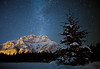 Milky Way above Cascade Mountain in the winter, Banff, National Park, Alberta, Canada.