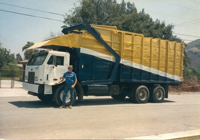 George Nazaroff Jr in front of Kenworth/Bowles Front Loader