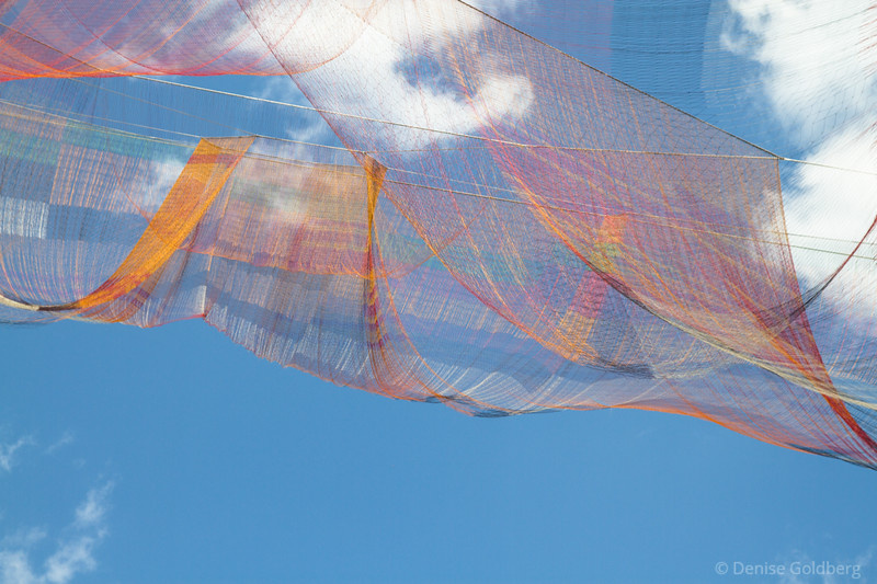 aerial sculpture created by Janet Echelman, hanging above the Rose Kennedy Greenway