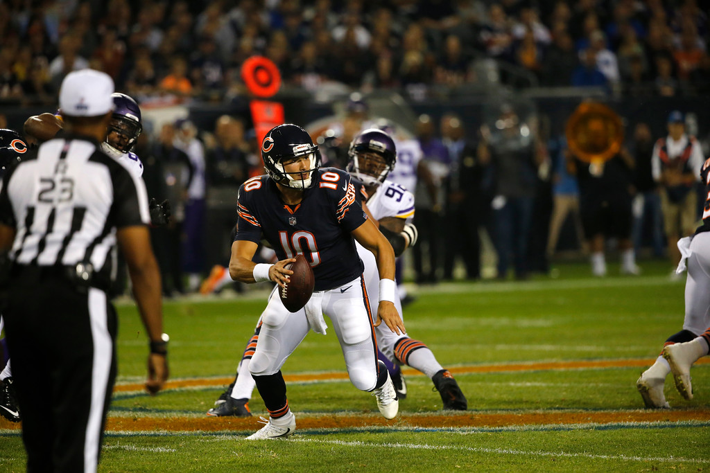 . Chicago Bears quarterback Mitchell Trubisky (10) scrambles during the first half of an NFL football game against the Minnesota Vikings, Monday, Oct. 9, 2017, in Chicago. (AP Photo/Charles Rex Arbogast)