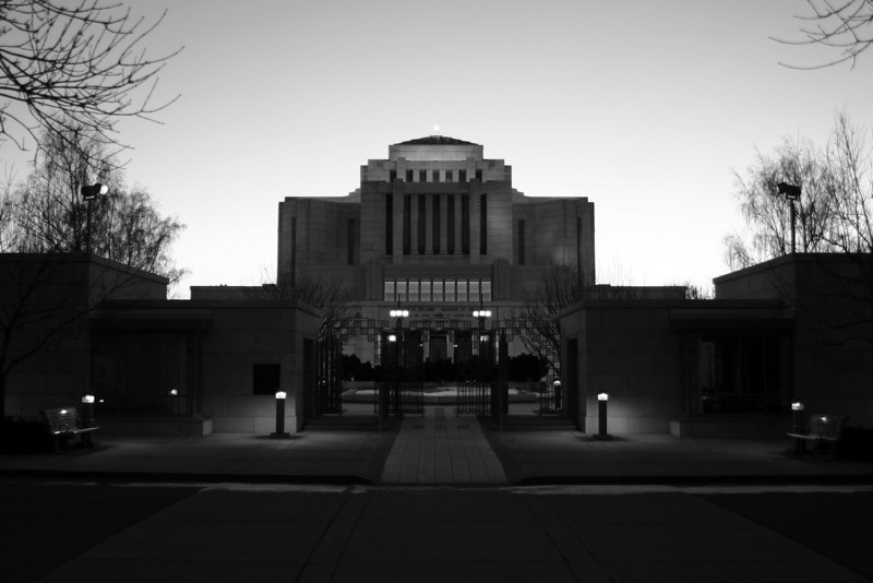 New 'Temple at Dusk' using new photo, B&W, cropped to 24x16