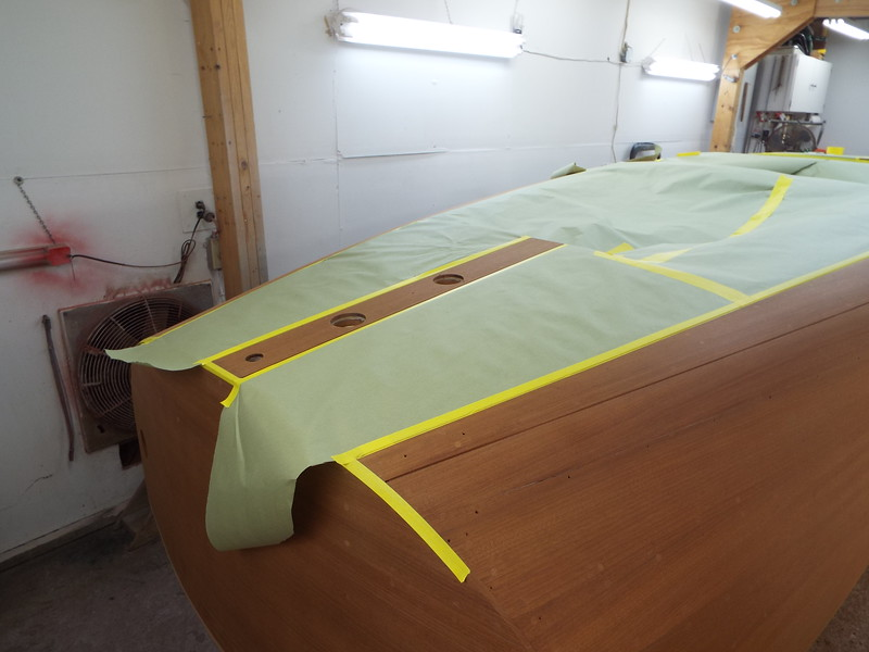 Starting to mask the rear deck for the first color of stain.