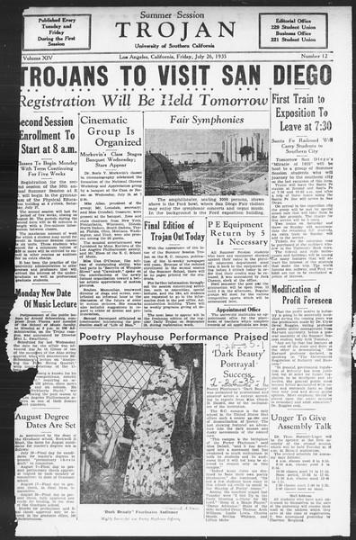 Summer Session Trojan, Vol. 14, No. 12, July 26, 1935