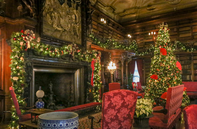 large room decorated for christmas