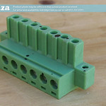 SKU: AE-BLOCK/508/T7, Green Connector 5.08mm Pitch L-Type Top Feed 7 Way PCB Cable Terminal Block with Threaded Flange and Bolts, 7Pin Plug Screw Locking
