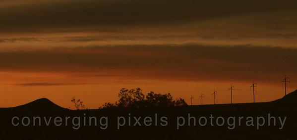 Sunset along hwy 190, going back to Longstreet Lodge.