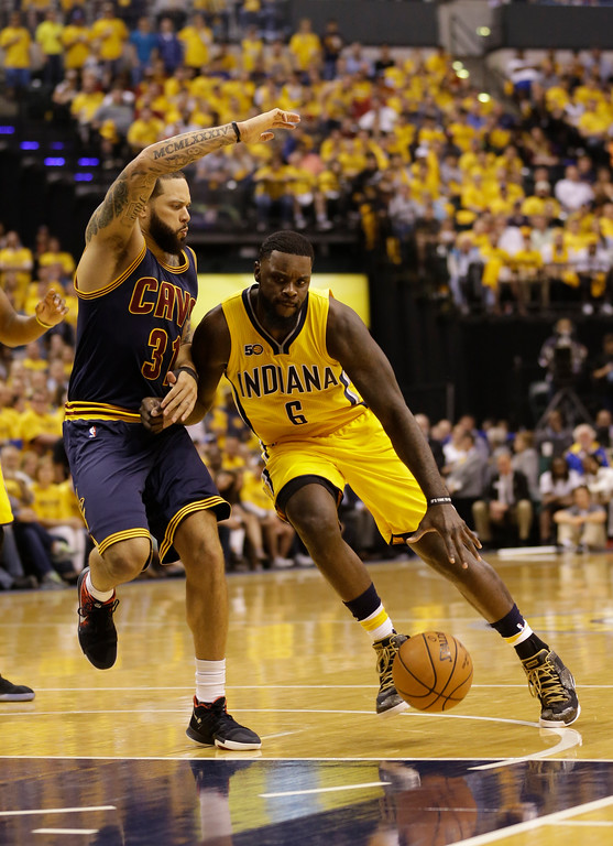 . Indiana Pacers guard Lance Stephenson (6) drives on Cleveland Cavaliers guard Deron Williams (31) in the second half of Game 3 of a first-round NBA basketball playoff series, Thursday, April 20, 2017, in Indianapolis. The Cavaliers defeated the Pacers 119-114. (AP Photo/Michael Conroy)