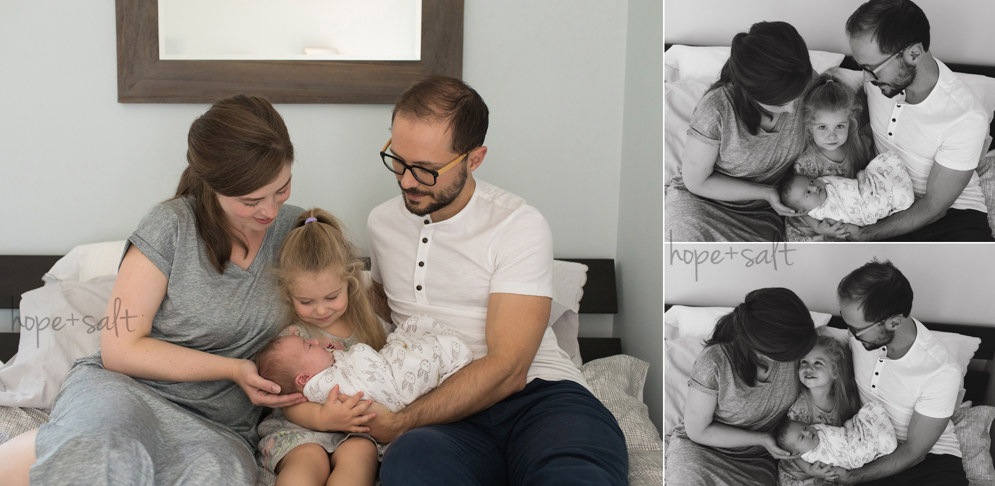Natural in home newborn photography - baby josephine and family in home lifestyle session by Burlington Photographer Hope + Salt