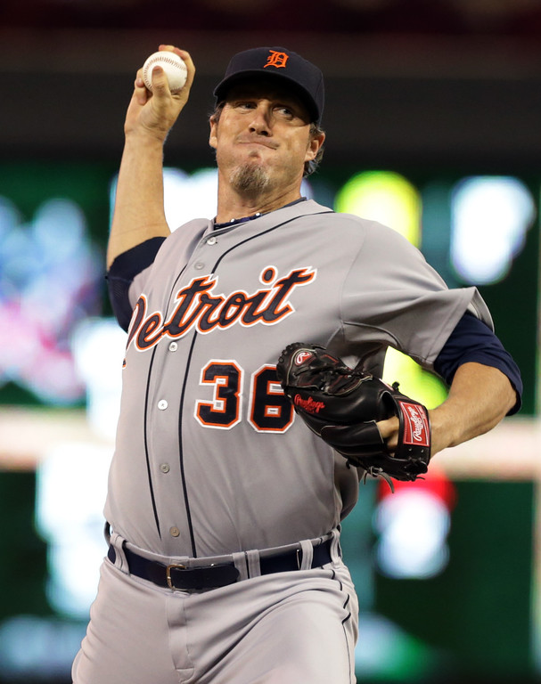 . Detroit Tigers pitcher Joe Nathan throws against the Minnesota Twins in the ninth inning of a baseball game, Tuesday, Sept. 16, 2014, in Minneapolis. Nathan gave up a walk-off single to Aaron Hicks as the the Twins won 4-3. (AP Photo/Jim Mone)