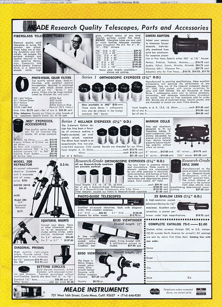 """Here is an early ad for Meade Research Grade orthoscopic eyepieces and other Meade products. The old Meade Research Orthos had focal lengths in 6.6mm, 10, 16, 20 and 26.6mm. Also see the """"Series 1"""" line of Orthoscopics too. This ad is dated July 1975 - Astronomy Magazine."""