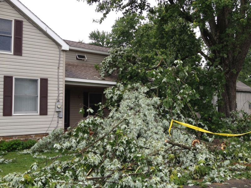 Description of . Fallen trees on a home on  Station Street in Verona following an early morning storm on Wednesday, June 18, 2014. JOHN HAEGER @ONEIDAPHOTO ON TWITTER/ONEIDA DAILY DISPATCH