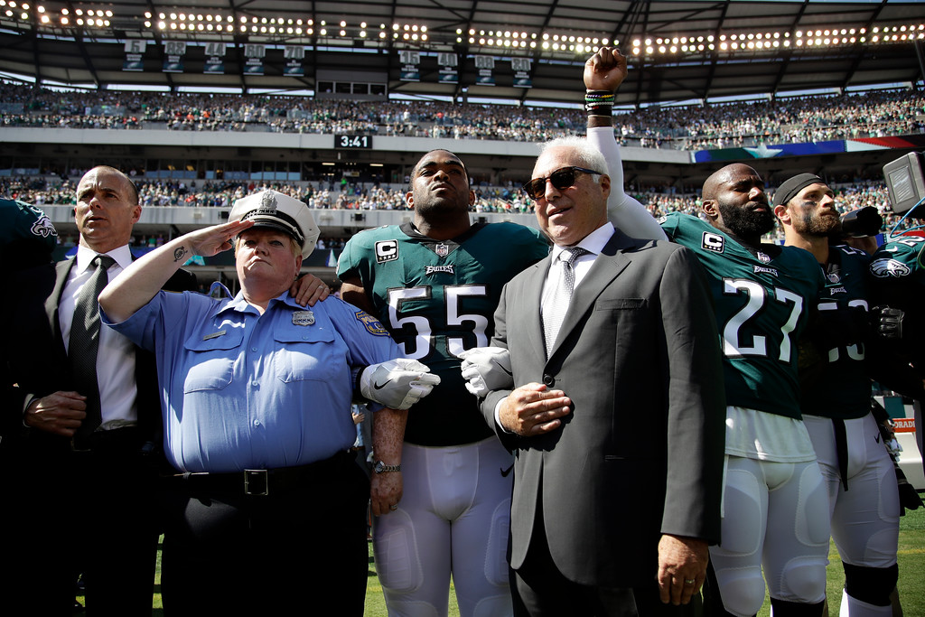 . Philadelphia Eagles owner Jeffrey Lurie stands during the national anthem before an NFL football game against the New York Giants, Sunday, Sept. 24, 2017, in Philadelphia. (AP Photo/Matt Rourke)