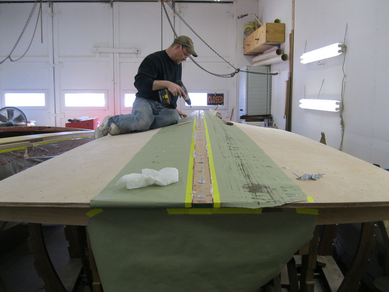 Rear view of the keel cap being installed.