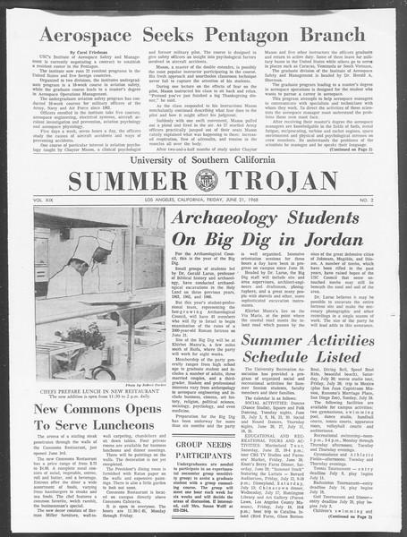 Summer Trojan, Vol. 19, No. 2, June 21, 1968