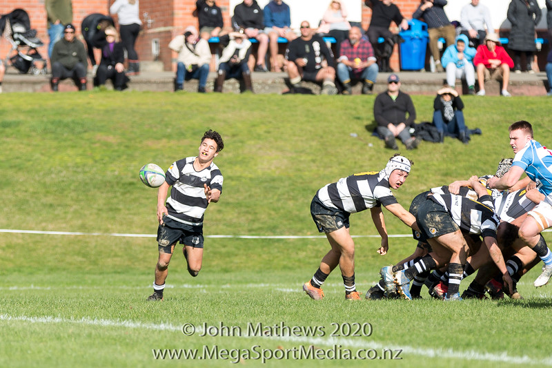 Image of Topia Barrowcliffe taken on 11 July 2020 at the Rugby match between St Patrick's College Silverstream (Blue) and New Plymouth Boys High School (Black) held at St Pats Silverstream College , Heretaunga, Wellington, New Zealand.   Final Score: Stream 31 NPBHS 32