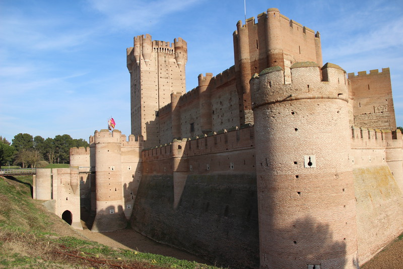 Beige walls and turrets of Castle o La Mota in Medina del Camp in Spain.