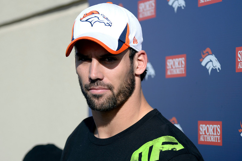 . Denver Broncos wide receiver Eric Decker (87) meets with the media after practice January 8, 2014 at Dove Valley (Photo by John Leyba/The Denver Post)