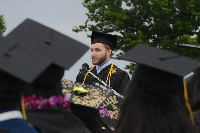 Sean Headley gives a commencement address during the Butte College Graduation, May 25, 2018,  in Chico, California. (Carin Dorghalli -- Enterprise-Record)