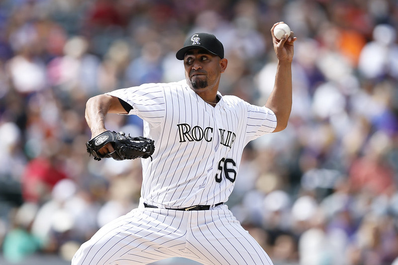 . Franklin Morales #56 of the Colorado Rockies pitches in the first inning of the game against the San Diego Padres at Coors Field on September 7, 2014 in Denver, Colorado. (Photo by Joe Robbins/Getty Images)