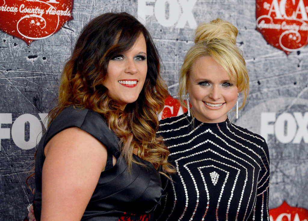 . LAS VEGAS, NV - DECEMBER 10: (L-R) Singers Angaleena Presley and Miranda Lambert of Pistol Annies arrive at the 2012 American Country Awards at the Mandalay Bay Events Center on December 10, 2012 in Las Vegas, Nevada.  (Photo by Frazer Harrison/Getty Images)