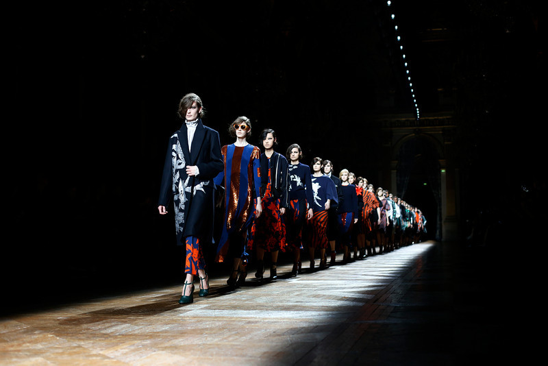 . Models wear creations for Dries van Noten\'s ready-to-wear fall/winter 2014-2015 fashion collection presented in Paris, Wednesday, Feb.26, 2014. (AP Photo/Jerome Delay)