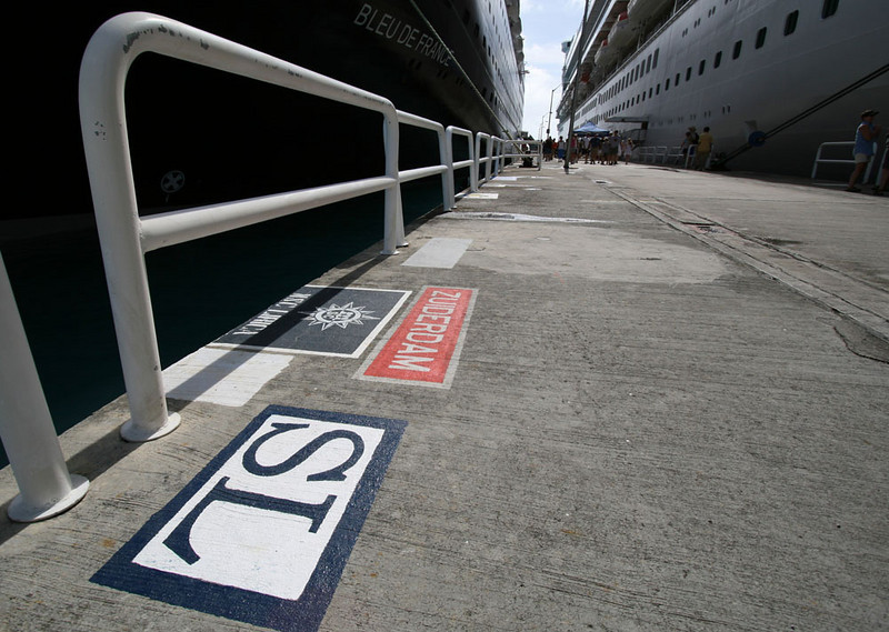 Cruise ships leaving calling cards on the dock.