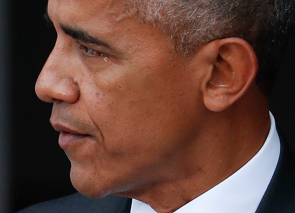 . President Barack Obama begins to tear-up while speaking at the dedication ceremony for the Smithsonian Museum of African American History and Culture on the National Mall in Washington, Saturday, Sept. 24, 2016. (AP Photo/Pablo Martinez Monsivais)