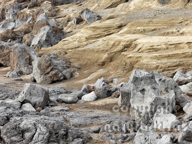 Farben des Lavagesteines, Vulkanküste bei Capelinhos, Faial, Azoren, Portugal