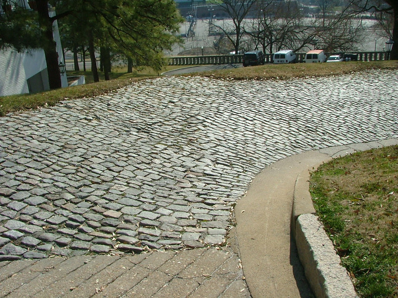 Cobblestone walk down gambell's hill. Al remembers being put on a bike and pushed down this before learning how to ride. I guess