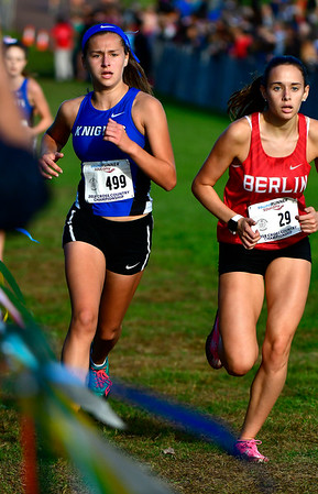 10/16/2018 Mike Orazzi | Staff Southington High School's Emma Swindon and Berlin's Alexa Monroe during the CCC Conference Cross Country Championships in Manchester's Wickham Park Tuesday.