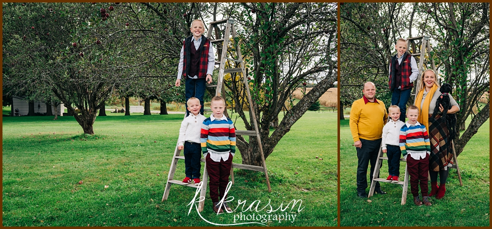 Collage of photos of family by apple trees with ladder