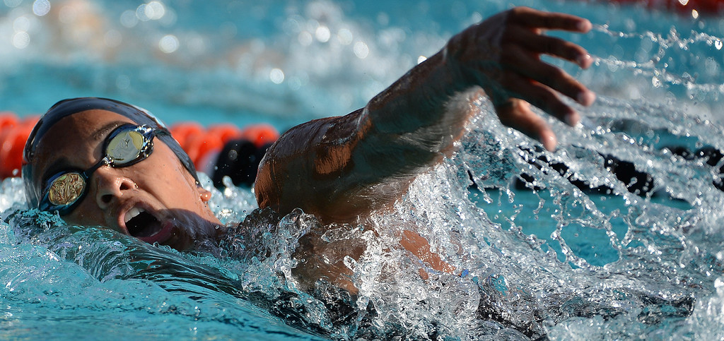 . Malibu\'s Farah Stack competes in the 200 yard freestyle during the Division 4 CIF Southern Section Swimming Championships in the Riverside Aquatics Complex at Riverside City College in Riverside, Calif., on Friday, May 16, 2014.  (Keith Birmingham/Pasadena Star-News)