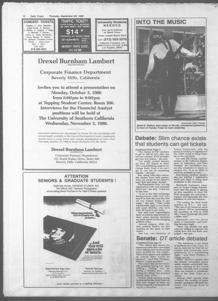 Daily Trojan, Vol. 107, No. 17, September 29, 1988