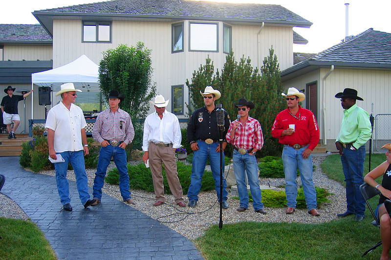 A handful of Stampede rodeo athletes who attended the Progress Energy Stampede party in Springbank.  It was interesting hearing them talk a bit about rodeo and their experiences in Calgary.
